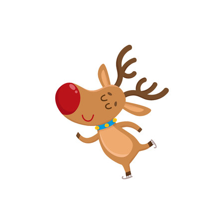 Cute and funny Christmas reindeer ice skating happily, cartoon vector illustration isolated on white background. Christmas red nosed deer ice skating, having fun, holiday season decoration element