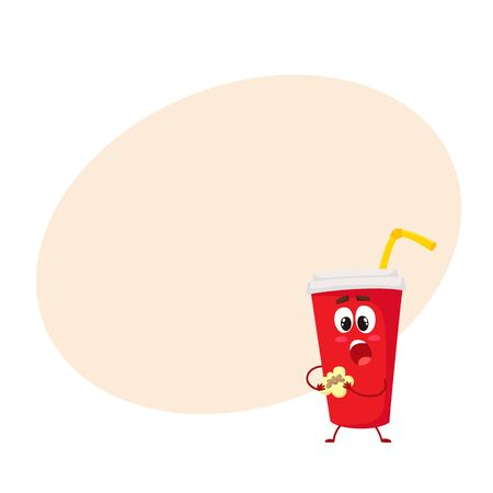 Funny soft drink paper cup character eating a cookie, cartoon style vector illustration on yellow background with place for text. Cute paper soda cup character with a lid and straw Illustration