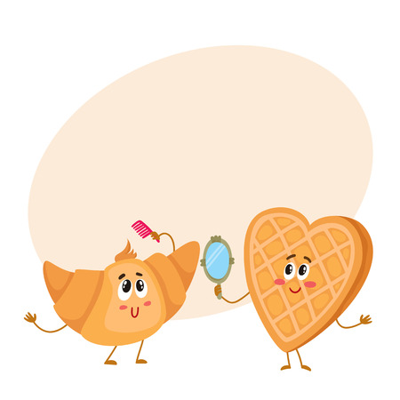 Cute and funny waffle, wafer and croissant characters doing morning rituals, cartoon vector illustration on background with place for text. Funny smiling heart-shaped wafer and croissant characters
