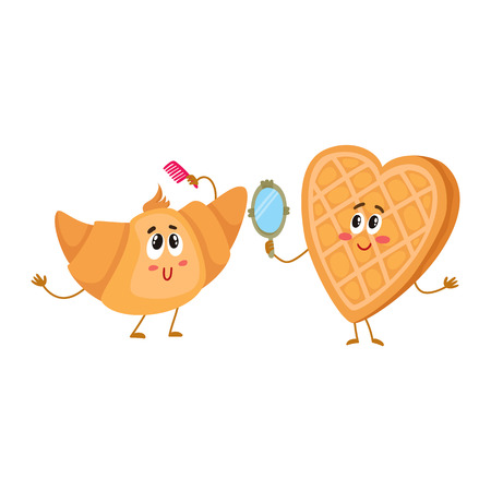 Cute and funny waffle, wafer and croissant characters doing morning rituals, cartoon vector illustration isolated on white background. Funny smiling heart-shaped wafer and croissant characters Illustration
