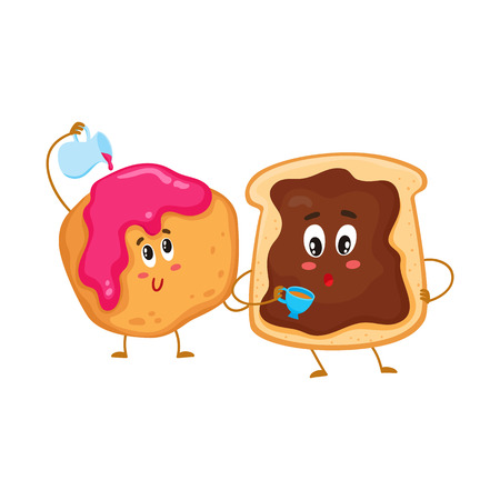 scone: Cute and funny toast with chocolate spread and donut characters, pastry for breakfast, cartoon vector illustration isolated on white background. Toasted breakfast bread and English scone characters Illustration