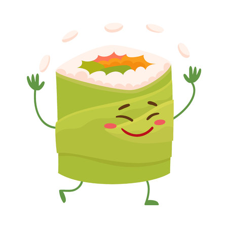 spicy mascot: Japanese avocado roll character juggling with rice, cartoon vector illustration isolated on white background. Cute and funny smiling avocado roll filled with fish, caviar and vegetables
