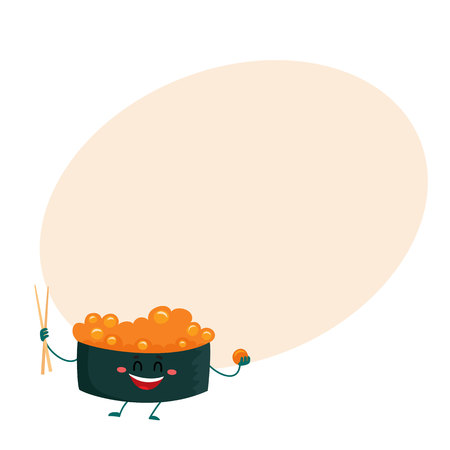 spicy mascot: Nori, seaweed roll, sushi, sashimi with caviar character holding Japanese chopsticks, cartoon vector illustration on background with place for text. Cute and funny smiling caviar sushi, Asian cuisine Illustration