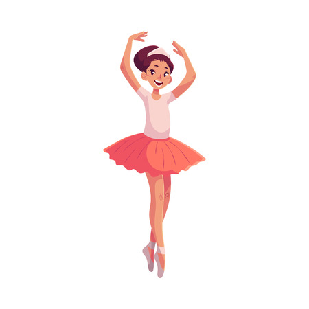 Little ballerina in pink tutu standing on toes, cartoon style vector illustration isolated on white background. Little ballet dancer in pink tutu, classical ballet, sixth position, toe stand, hands up Illustration