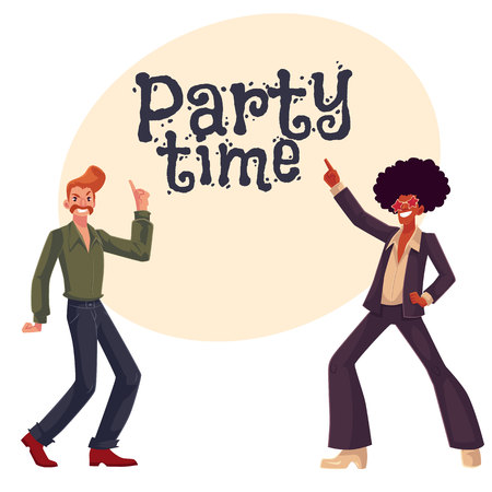 wig: Two guys, in afro wig and with a beehive, wearing 1970s style clothes dancing disco, cartoon style invitation, greeting card design. Party invitation, advertisement, Afro wig, beehive, flared pants