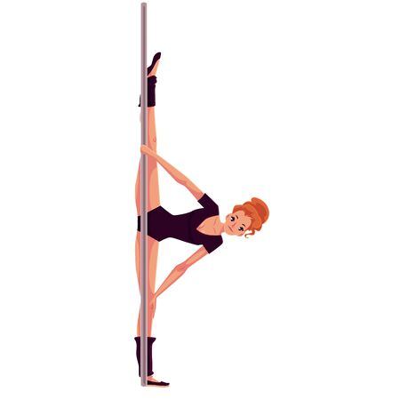 pole dancer: Young woman in black leotard doing leg split at the pole, cartoon style vector illustration isolated on white background. Young, slim and beautiful pole dancer doing side split at the pole