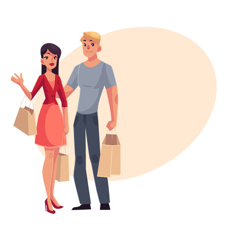 middle aged woman: Couple of young man and woman with shopping bags, cartoon vector illustration on background with place for text. Full length portrait of young pretty girl, woman and handsome man doing shopping