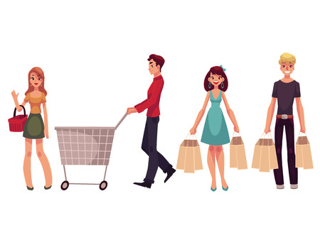 Young men and women with shopping bags, cart, basket, cartoon vector illustration isolated on white background. Full length portrait of young people doing shopping consumerism concept Illustration