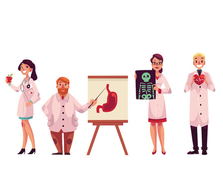 practitioner: Doctors - general practitioner, radiologist, heart surgeon and professor, cartoon vector illustration isolated on white background. Male and female medical workers, doctors, health care professionals
