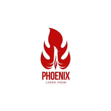 revival: Stylized graphic phoenix bird resurrecting in flame  template, vector illustration isolated on white background. Phoenix in fire   template, revival, rebirth, resurrection concept