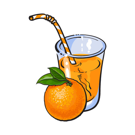 advertizing: Glass of freshly squeezed juice with a whole orange, sketch vector illustration isolated on white background. Hand drawing of whole orange and juice, design element for packaging and promo materials