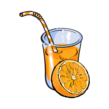 advertizing: Glass of freshly squeezed juice with half of orange, sketch vector illustration isolated on white background. Hand drawing of orange and juice, design element for packaging and promo materials