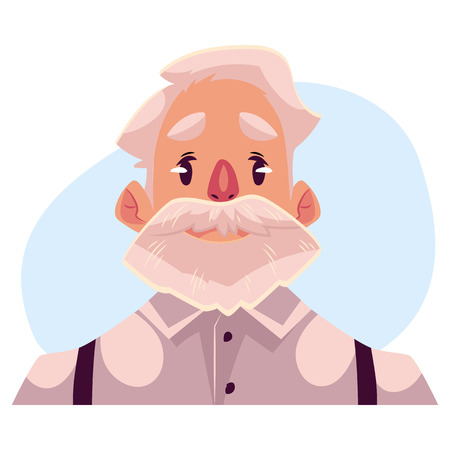 neutral face: Grey haired old man face, neutral facial expression, cartoon vector illustrations isolated on blue background. Old man, grandfather emoji feeling glad, serene, relaxed, delighted. Neutral face expression