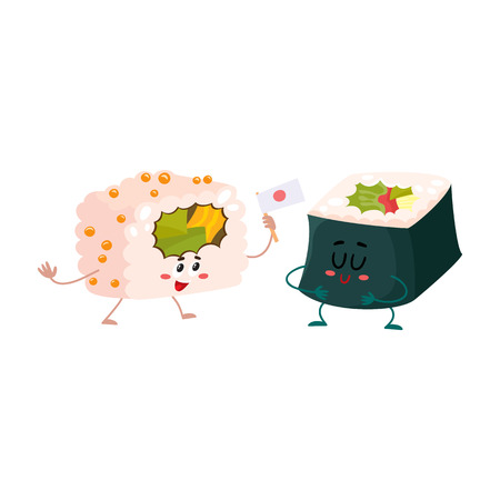 spicy mascot: Two cute and funny Japanese nori, seaweed roll characters, cartoon vector illustration isolated on white background. Couple of smiling seaweed, nori roll characters, Asian cuisine Illustration