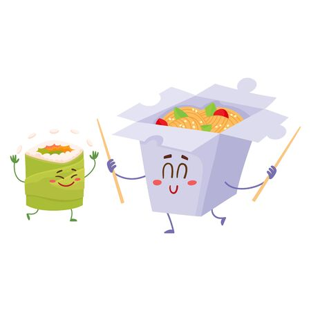 chinese food container: Smiling Japanese noodle in paper box and avocado roll characters, cartoon vector illustration isolated on white background. Cute and funny smiling noodle box and avocado roll, suchi character