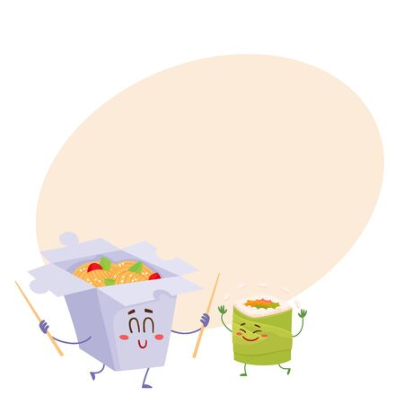 spicy mascot: Smiling Japanese noodle in paper box and avocado roll characters, cartoon vector illustration on background with place for text. Cute and funny smiling noodle box and avocado roll, suchi character