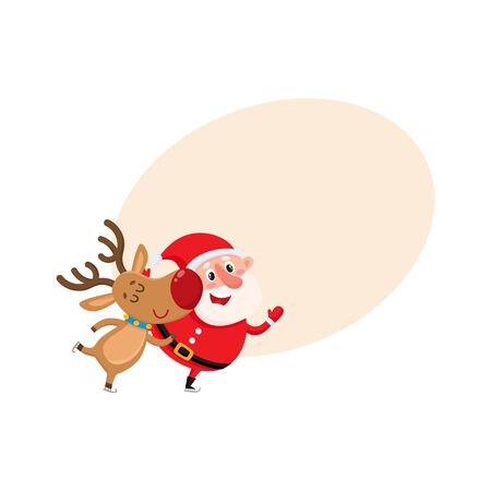 Santa and reindeer skate and have fun, cartoon vector illustration isolated with background for text. Santa Claus and deer, Christmas attributes, holiday decoration elements