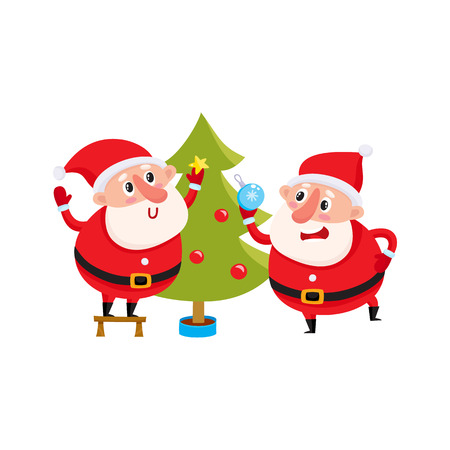 two funny Santa decorate the Christmas tree with festive toys, cartoon vector illustration isolated on white background. Santa Claus and deer, Christmas attributes, holiday decoration elements Illustration