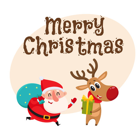Merry Christmas greeting card template with funny Santa and funny reindeer holding Christmas gifts, cartoon vector illustration. Christmas poster, banner, postcard, greeting card design