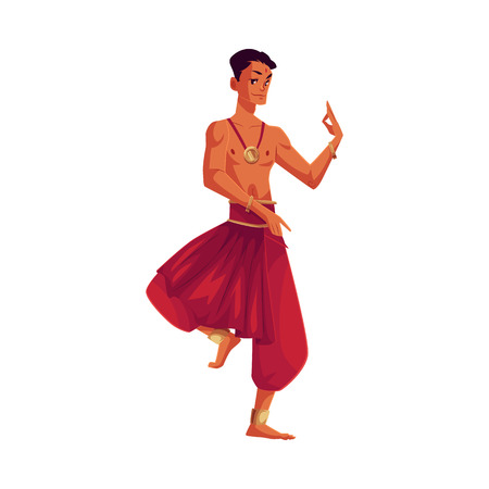harem: Indian male dancer in traditional harem pants, cartoon vector illustration isolated on white background. Traditional Indian male dancer wearing baggy pants and ankle brecelets, Bollywood performer