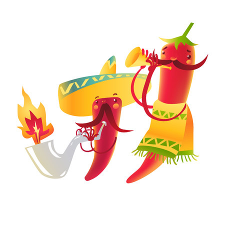 spicy mascot: Happy chili peppers character in sombrero playing Mexican maracas, cartoon vector illustration isolated on white background. Chili peppers character in traditional Mexican sombrero playing music Illustration
