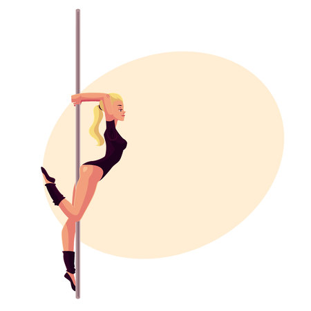 Young woman in black leotard standing at the pole, cartoon style vector illustration on yellow background, place for text. Young, slim and beautiful pole dancer standing sexually at the pole
