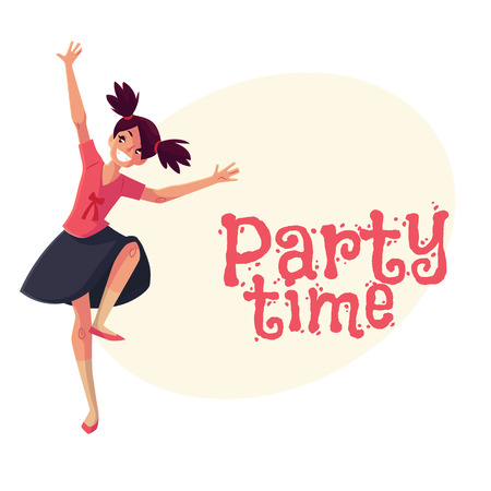black haired: Full length portrait of teenaged black haired girl with ponytails dancing, cartoon style invitation, greeting card design. Party invitation, advertisement, Smiling girl with ponytails dancing Illustration