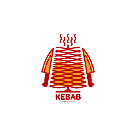 freshly: Stylized hot, freshly grilled Turkish doner kebab   template, vector illustration isolated on white background. Creative two-colored Turkish doner kebab, shawarma  with meat and knives Illustration