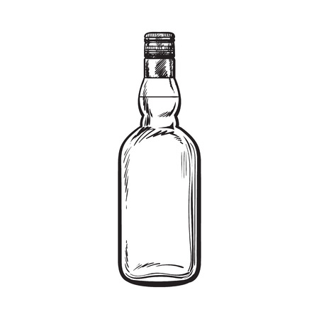 bourbon: Unopened, unlabeled full whiskey bottle, sketch style vector illustration isolated on white background. black and white hand drawing of an unlabeled, unopened whiskey, rum, brandy bottle Illustration