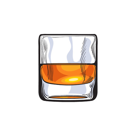 Scotch whiskey, rum, brandy shot glass, sketch style vector illustration isolated on white background. Realistic hand drawing of a glass of whiskey shot