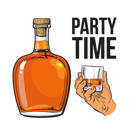 bourbon: rum alcohol bottle and hand holding full shot glass, sketch style vector illustration isolated on white background. Realistic hand drawing of an unlabeled, unopened rum bottle, party time concept Illustration