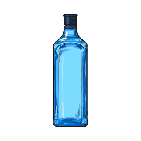 unlabelled: Traditional blue gin glass bottle, sketch style vector illustration isolated on white background. Realistic hand drawing of an unlabeled, unopened blue gin bottle