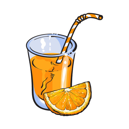 advertizing: Glass of freshly squeezed juice with piece of orange, sketch vector illustration isolated on white background. Hand drawing of orange and juice, design element for packaging and promo materials Illustration