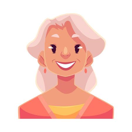 Grijze haired old lady, lachende gezichtsuitdrukking, cartoon vector illustraties geïsoleerd op een witte achtergrond. Oude vrouw met een brede lach, witte tanden. Gelukkig, blij, lachende gezichtsuitdrukking Vector Illustratie