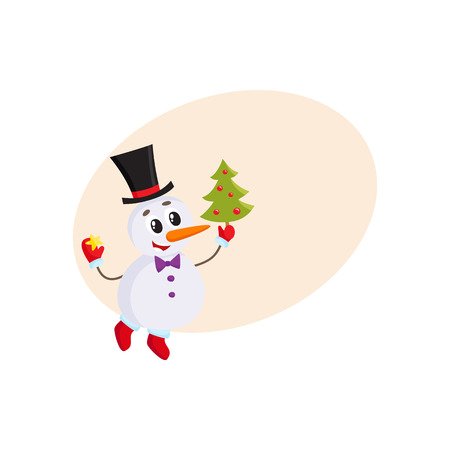 Cute and funny little snowman decorating a Christmas tree, cartoon vector illustration with background for text. Funny snowman in cylinder hat with an Xmas tree, holiday season decoration element