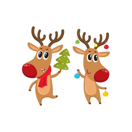 Two reindeer with Christmas toys and tree, cartoon vector illustration isolated on white background. Christmas red nosed deer, holiday decoration element Illustration