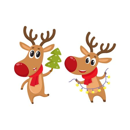 Two deer holding a Christmas tree and electric garland with lights, cartoon vector illustration isolated on white background. Christmas red nosed deer, holiday decoration element Illustration