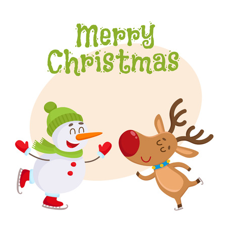 mitten: Merry Christmas greeting card template with funny reindeer and snowman skating, cartoon vector illustration isolated on white background. Christmas poster, banner, postcard, greeting card design