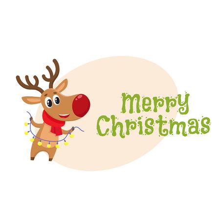 Merry christmas greeting card template with funny reindeer in merry christmas greeting card template with funny reindeer in red scarf holding a garland cartoon maxwellsz