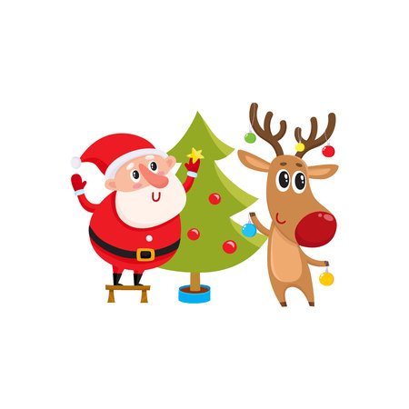 Funny Santa Claus and reindeer decorating Christmas tree with balls and stars, cartoon vector illustration isolated on white background. Santa Claus an deer hanging balls on Christmas tree