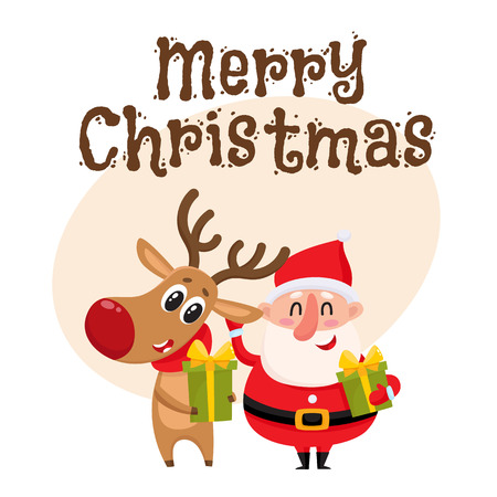 Merry Christmas greeting card template with Funny Santa Claus and reindeer holding gifts, presents, cartoon vector illustration. Christmas poster, banner, postcard, greeting card design with a deer