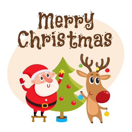 merry christmas greeting card template with funny santa claus and reindeer decorating tree with balls and