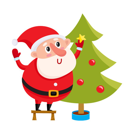 Cute and funny Santa Claus decorating a Christmas tree, cartoon vector illustration isolated on white background. Cartoon Santa Claus hanging balls on Christmas tree, holiday season decoration element Çizim