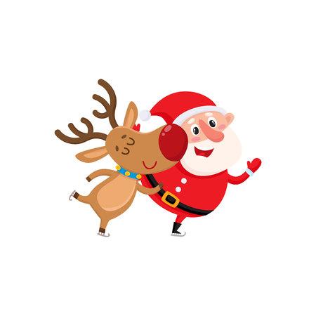 산타와 순 록 스케이트 재미와 만화 벡터 일러스트 레이 션 흰색 배경에 고립. 산타 클로스와 사슴, 크리스마스 특성, 휴일 장식 요소
