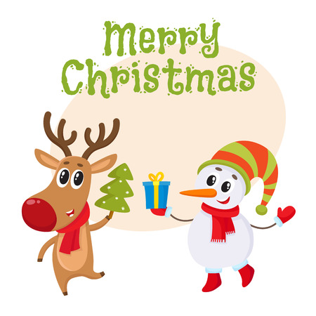 postcard box: Merry Christmas greeting card template with funny reindeer holding a Christmas tree and a snowman holding a gift box, cartoon vector. Christmas poster, banner, postcard, greeting card design