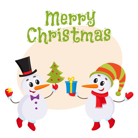 postcard box: Merry Christmas greeting card template with two cute snowman holding a Christmas tree and gift box, cartoon vector. Christmas poster, banner, postcard, greeting card design Illustration