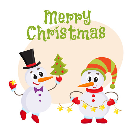 Merry christmas greeting card template with two snowmen holding merry christmas greeting card template with two snowmen holding a christmas tree and an electric garland maxwellsz