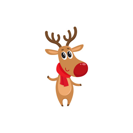 nosed: Christmas reindeer in red scarf, cartoon vector illustration isolated on white background. Christmas red nosed deer, holiday decoration element