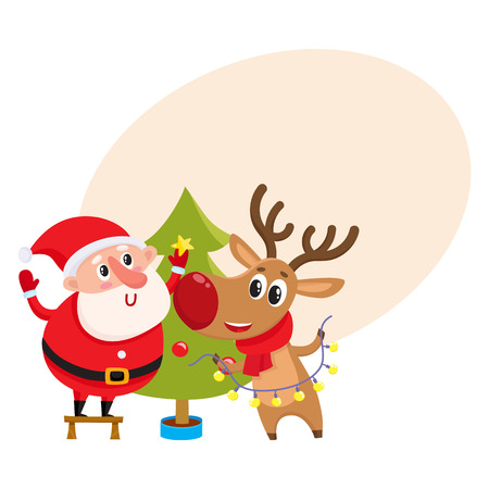 Funny Santa Claus and reindeer decorating Christmas tree with balls and stars, cartoon vector illustration with background for text. Santa Claus an deer hanging balls on Christmas tree Illustration