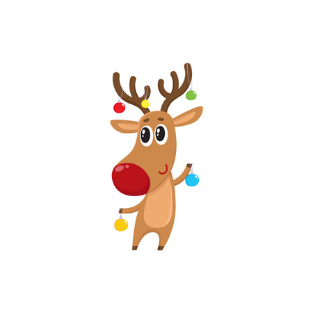 Funny reindeer holding balls for Christmas tree decoration, cartoon vector illustration isolated on white background. Red nosed deer with Christmas tree balls, holiday decoration element
